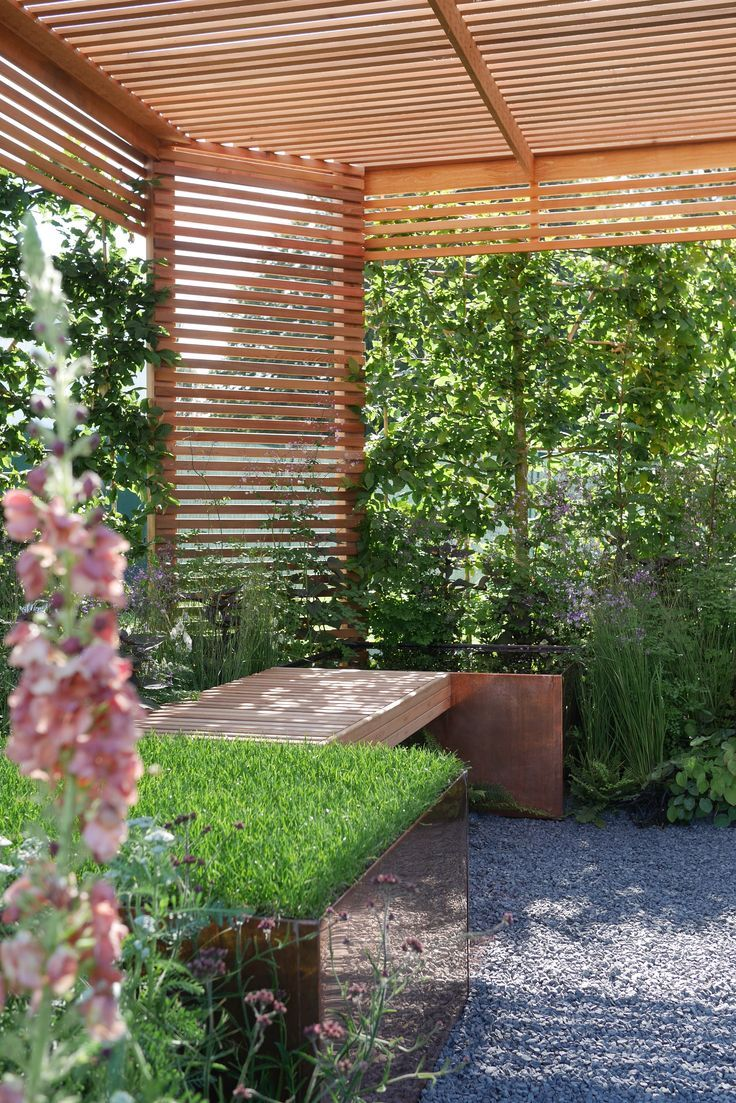 Get creative with slatted screens, they make a great sun shelter ...