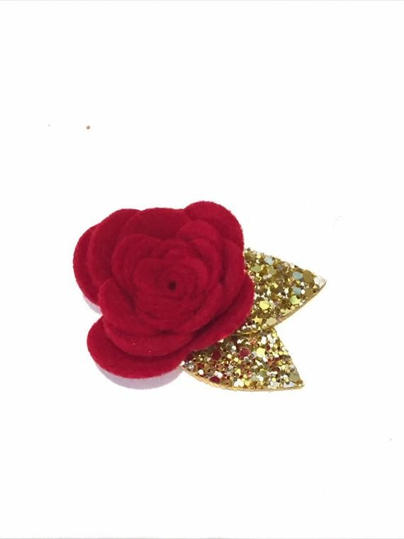 Red felt flower, flower clip, red flower headband, girls flower headband, baby flower headband, newb #feltflowerheadbands
