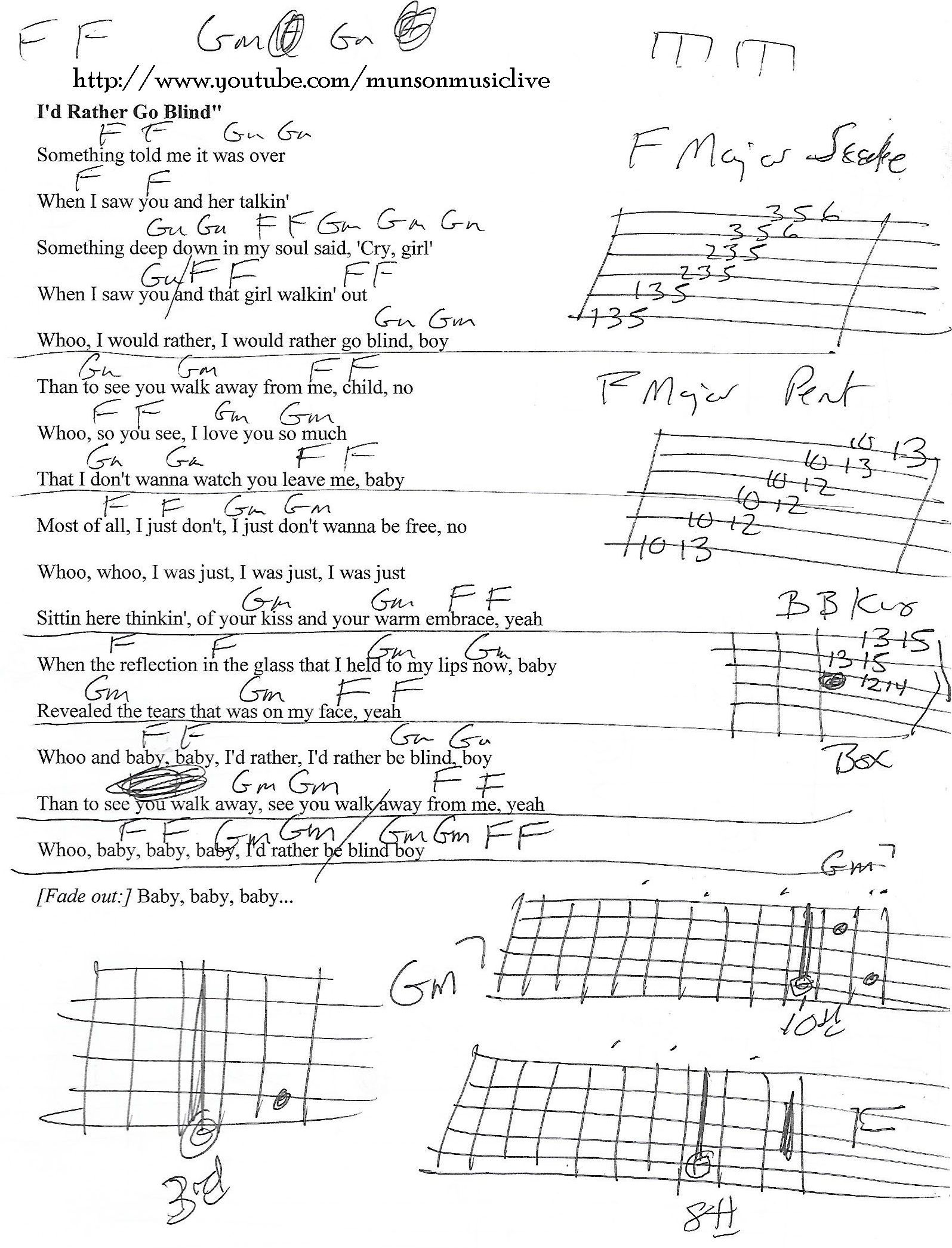 Id Rather Go Blind Guitar Chord Chart Guitar Lesson Chord