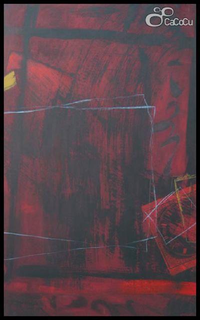 """""""Sin título"""" J. Doña. Técnica mixta sobre tabla. Dimensiones: 73,5 x 122 cm"""