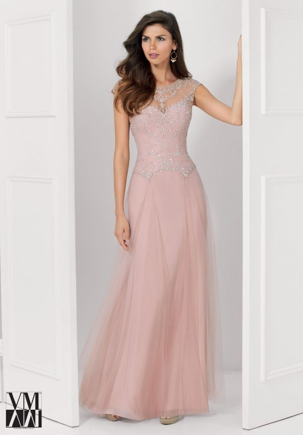 Evening Gown 71120 Tulle Evening Gown with Illusion Neckline and ...