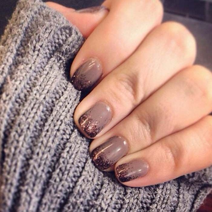 Rose gold glitter tips on a rosy taupe, smart combo | Nail Polish ...
