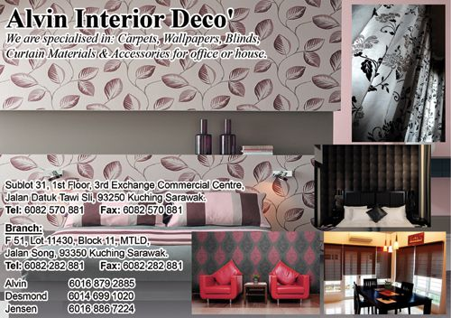 Advertising art design for Alvin Interior Deco' which specialized in:  Carpets, Wallpapers,