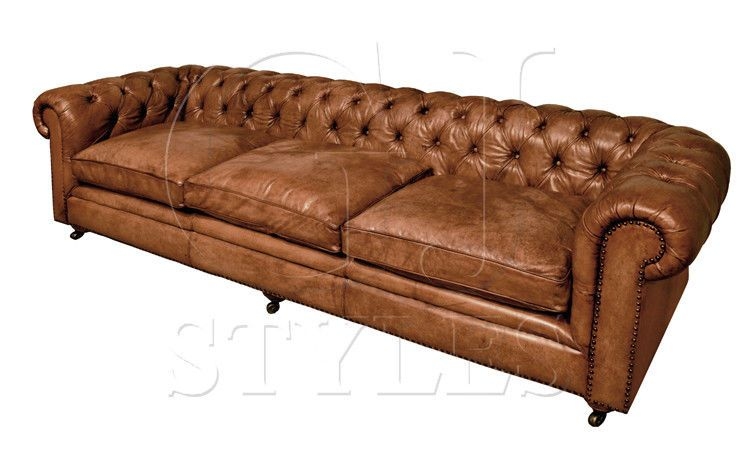 Awesome Chesterfield Full Grain Buffalo Leather Large Sofa 110 X 30 H Traditional
