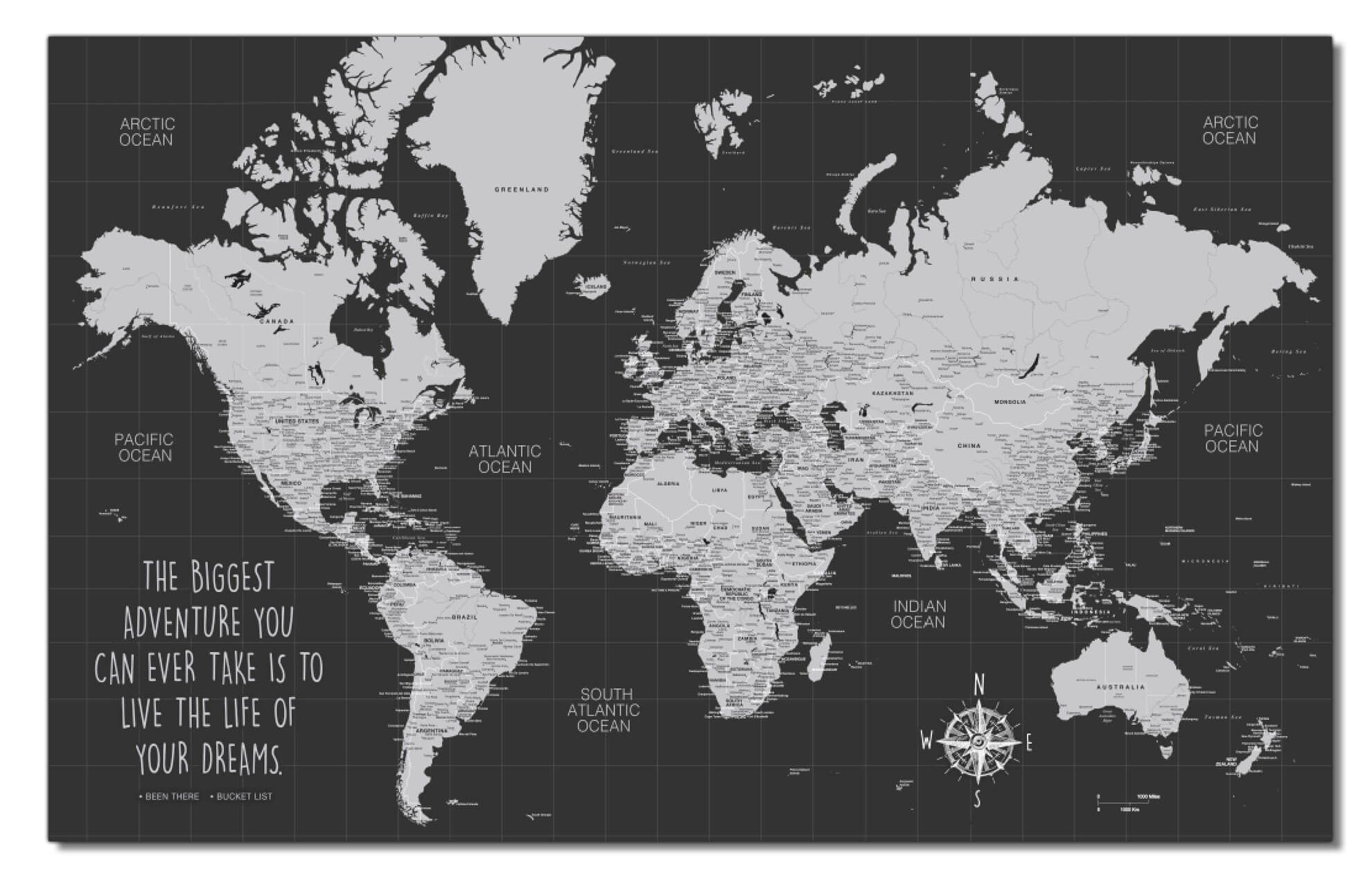 Graduation Push Pin World Map - 1 Panel - 40 x 24\ Rolled - Unframed / NO Quote - NO Legend