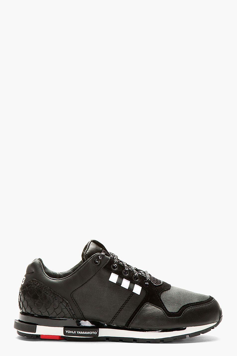 d84ba04c262c9 adidas Y-3 Black Low-Top Vern Sneakers