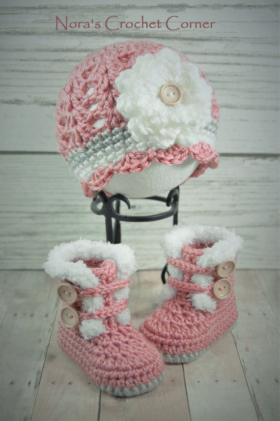 Crochet Baby Girl Fur Trim Boots and Hat with Flower - 321 | Häkeln ...