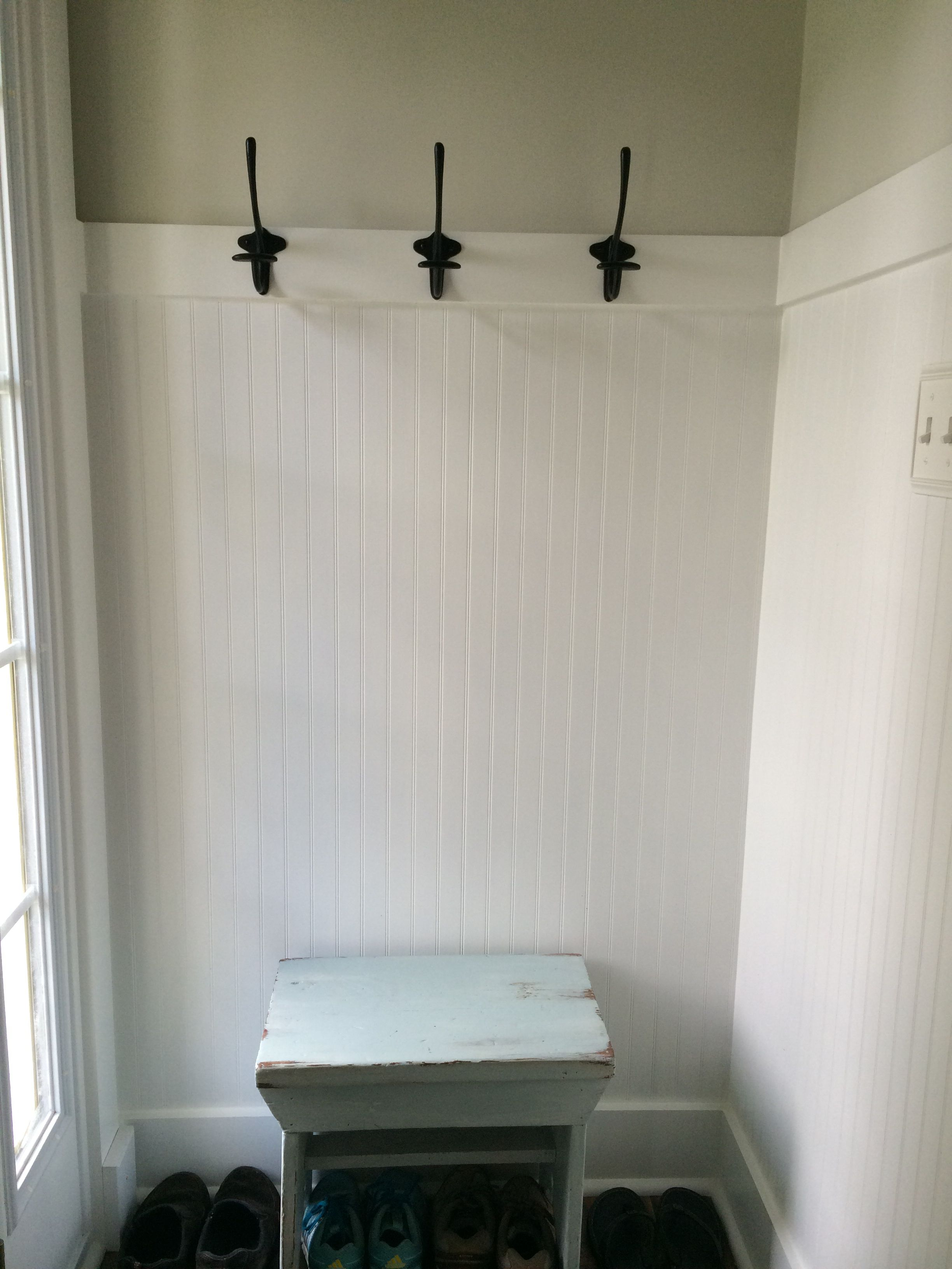 Small foyer with beadboard painted in BM\'s Simply white in the ...