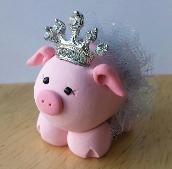 Pink Princess Pig Ornament by pinkprincesspigs on Etsy