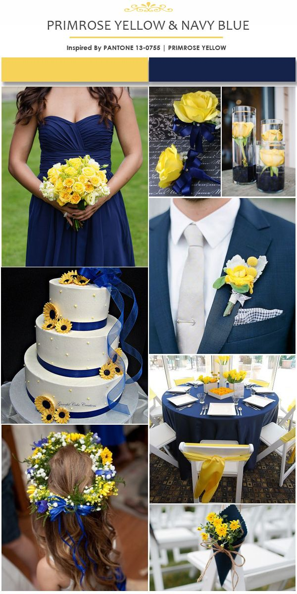 Primrose Yellow And Navy Blue Wedding Color Ideas Wedding