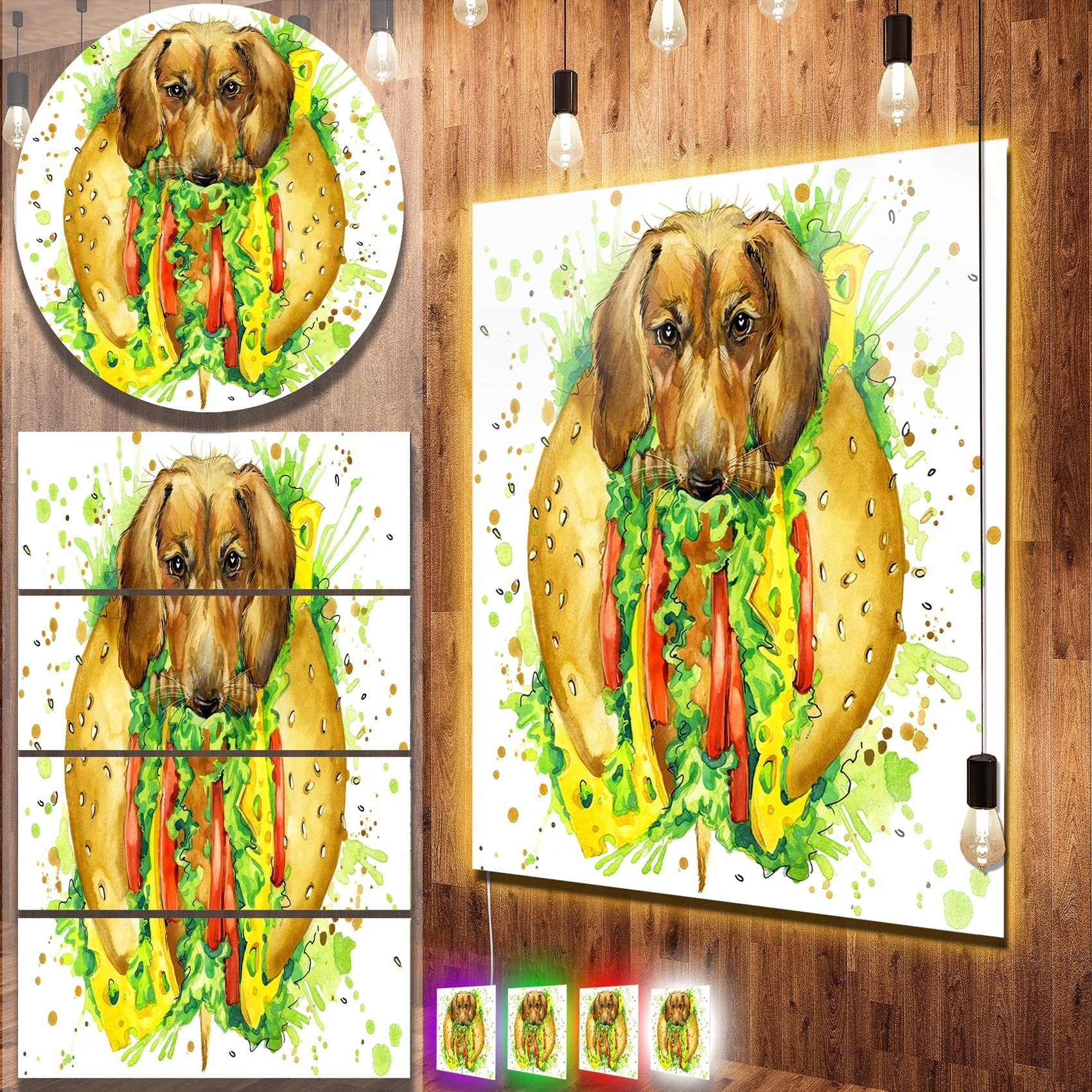 Designart \'Funny Dog inside Sandwich\' Contemporary Animal Art Metal ...