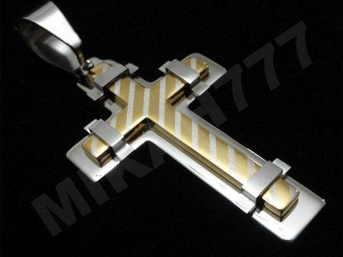 ddea676b62d Pingente Masculino Crucifixo Mescla com Listras (Prata e Dourado) em Aço  inox. Exclusivo!
