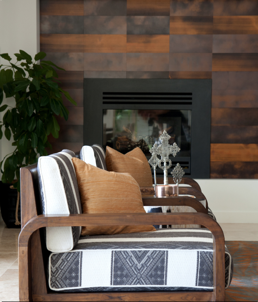 Fireplace Feature Wall In Copper Florentine Sheet Metal Fireplace Feature Wall Sheet Metal Wall Feature Wall
