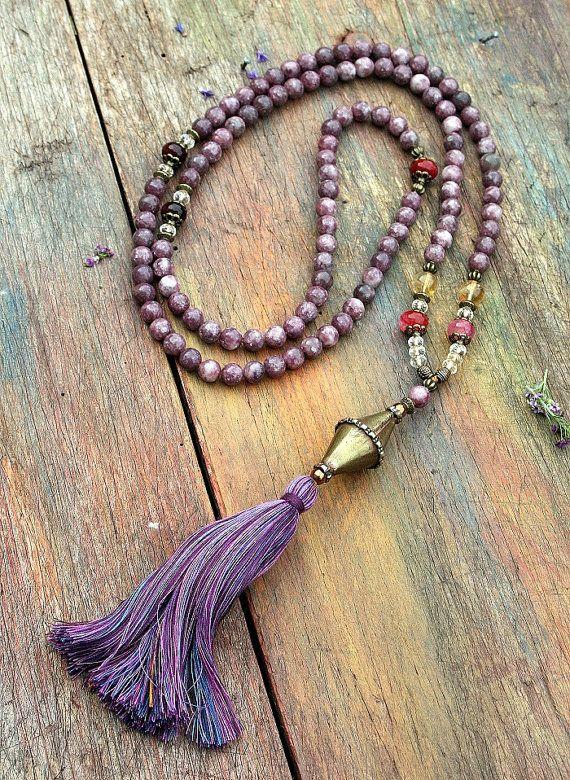 A grade lepidolite gemstone mala necklace - look4treasures on Etsy