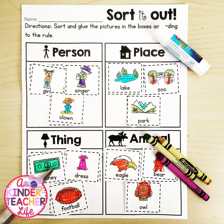 nouns sort kindergarten literacy and language arts