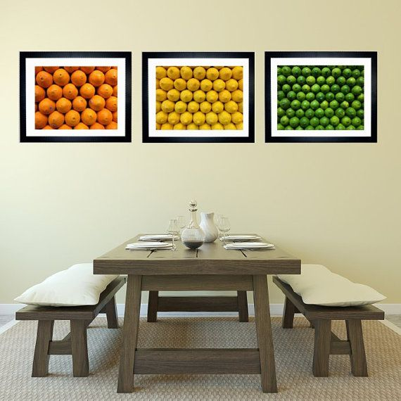 Set Of 3 Citrus Fruit Art Print Kitchen Decor Bar Food Photography Orange Lemon Lime