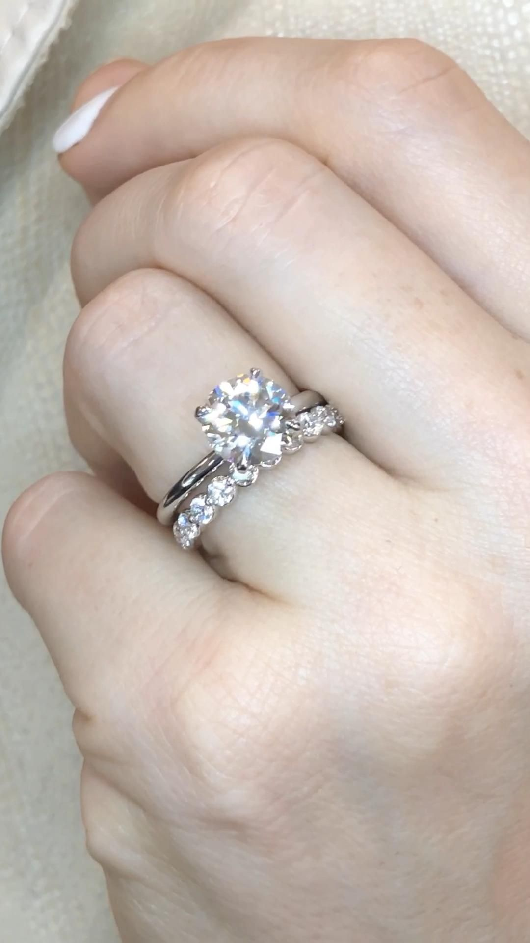 Custom diamond engagement rings and wedding bands made just for you.  A gorgeous solitaire engagement ring with hidden halo and a custom eternity diamond band. By Ascot Diamonds Atlanta.  #ascotdiamonds #engagementrings #weddingbands #customengagementring
