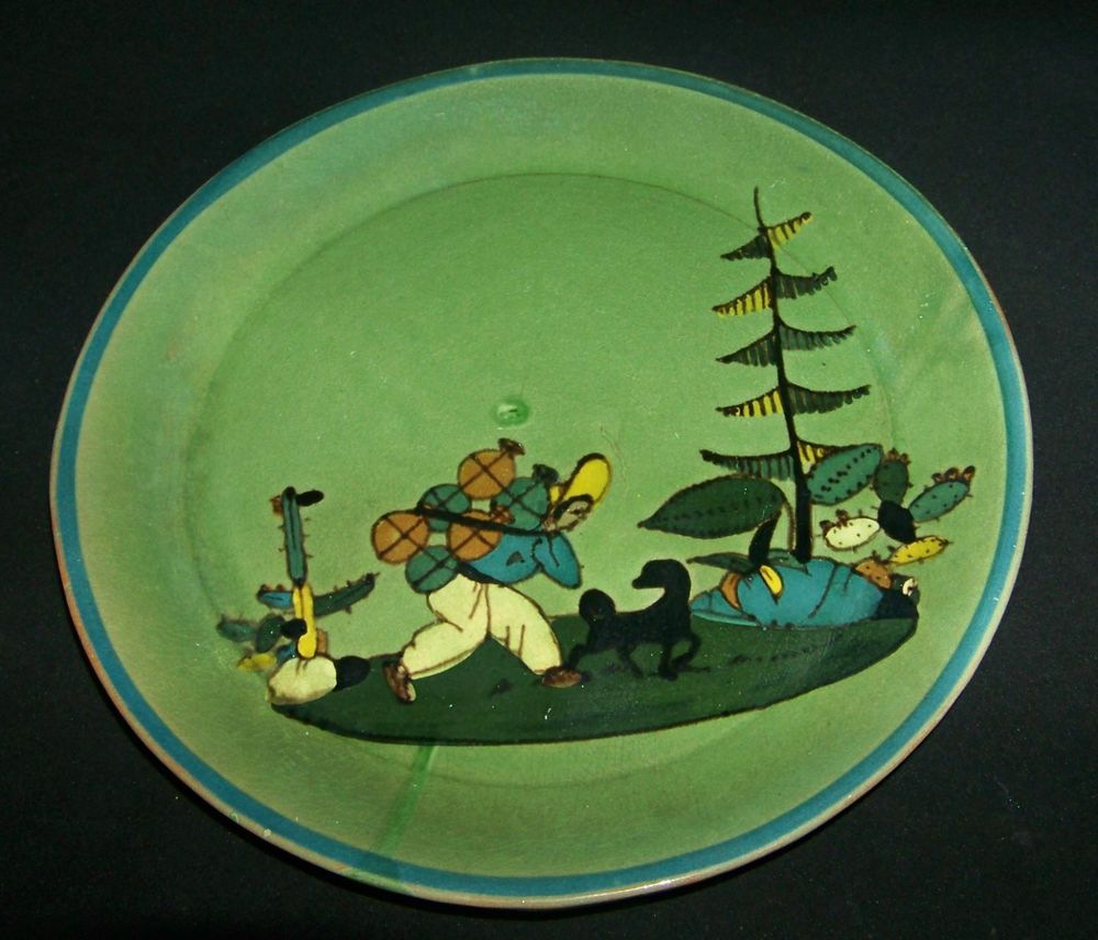 ;D---❤️Glazed Mexican Pottery Green Dinner Plate with a Mexican Man Working Design #5 #Mexico