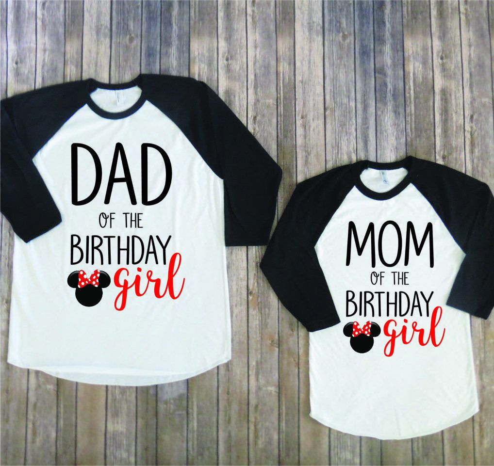 Mom And Dad Of Birthday Girl Minnie Version Disney Matching Shirts Mouse