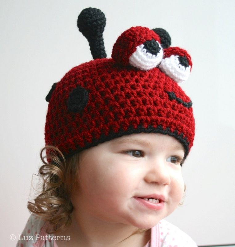 Ladybug hat crochet pattern by Luz Patterns | Pinterest | Stricken ...