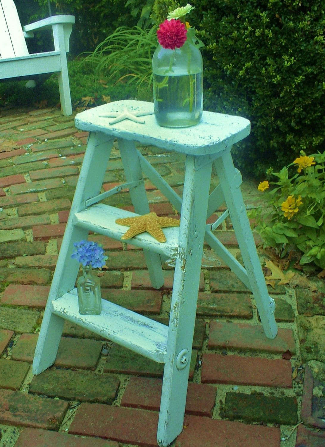 shabby chic step ladder stool painted furniture by backporchco ...