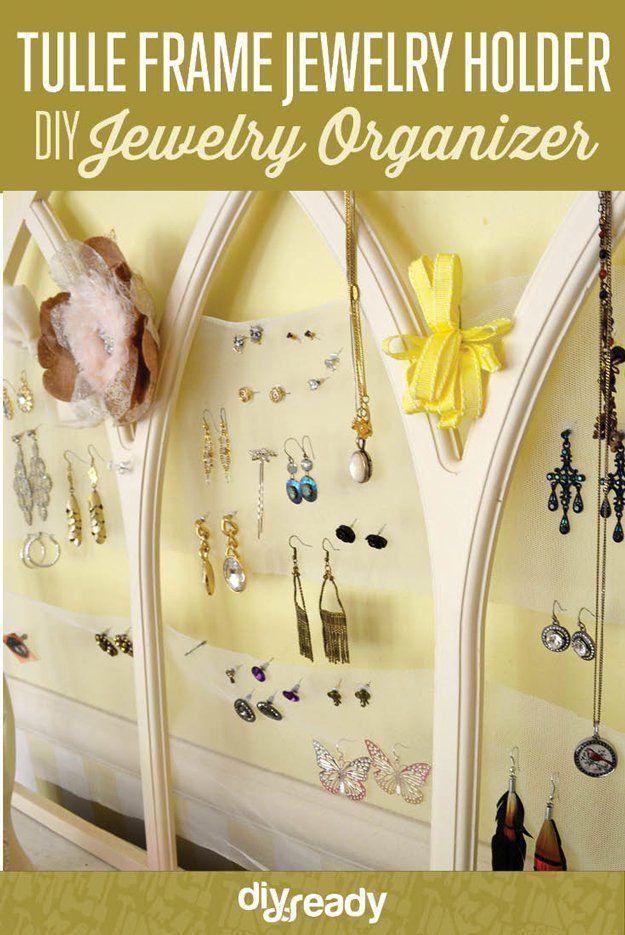 Tulle Frame Jewelry Holder organization ideas tips Pinterest