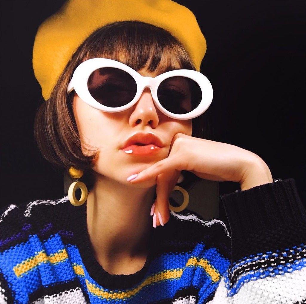 2aea20894eb Kate Stonem  RETRO 1990 S FASHION OVAL CLOUT GOGGLE SUNGLASSES 51MM C381