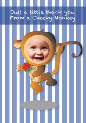 A little thank you from a cheeky monkey - thank-you card