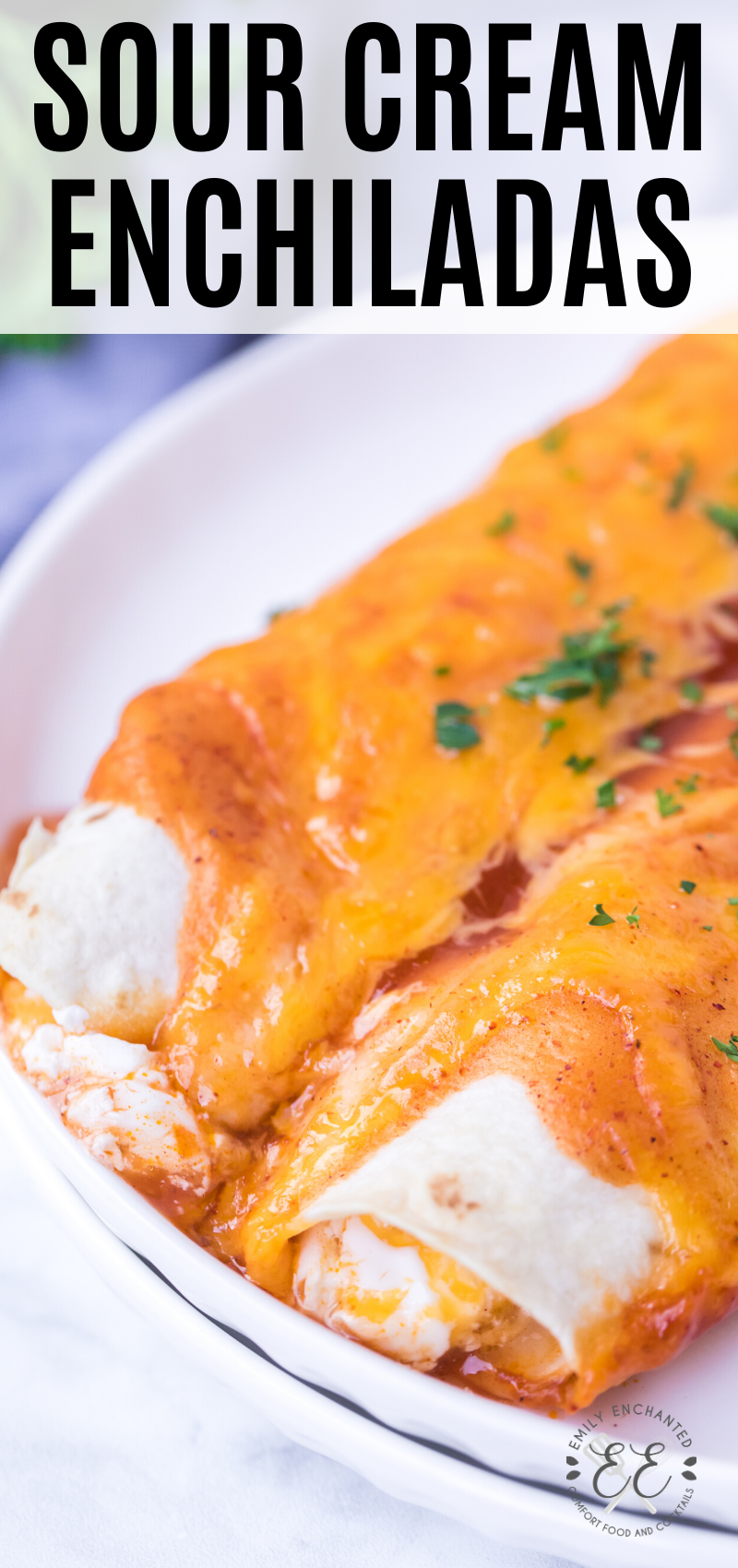 Sour Cream Enchiladas Recipe With Cheese And Enchilada Sauce In 2020 Sour Cream Enchiladas Cream Sauce Recipes Sour Cream Chicken Enchilada Recipe