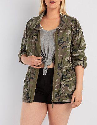 fd52a54ebc8 Plus Size Camo Print Anorak Jacket  Charlotte Russe