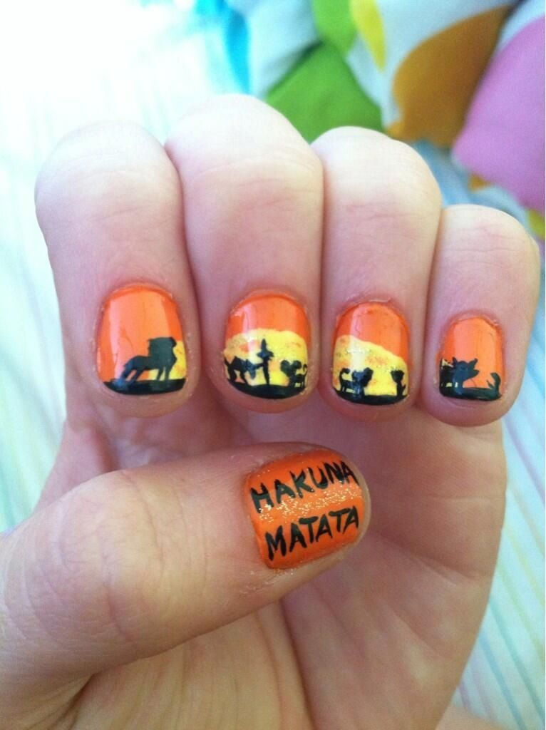 Lion King nail art   Make up   Pinterest   Lion king nails, Manicure ...