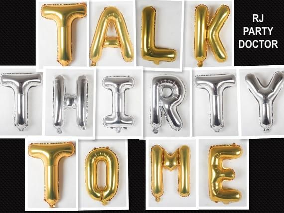 16 Talk Thirty To Me Balloons, Dirty 30, 30th Birthday Party, 30th Birthday, 30th Birthday Party Decor, Dirty Thirty, Decor, Balloon #50thbirthdaypartydecorations