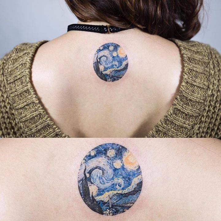 notte stellata tatuaggi van gogh