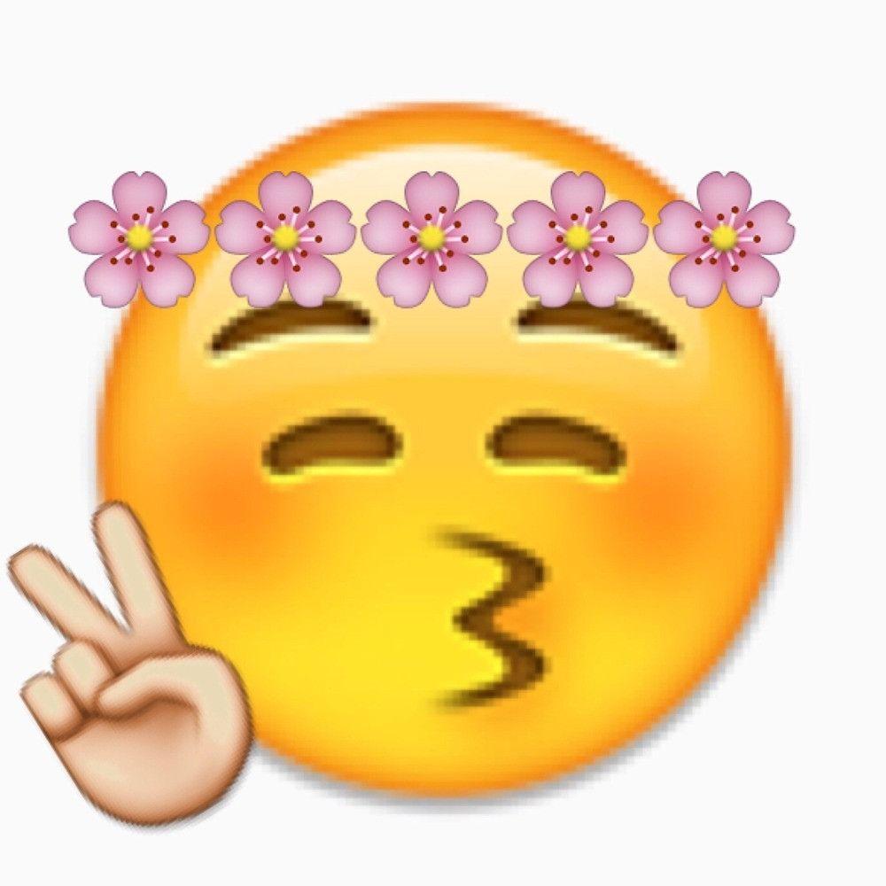 Hippie flower headband peace sign kissy puckered lips