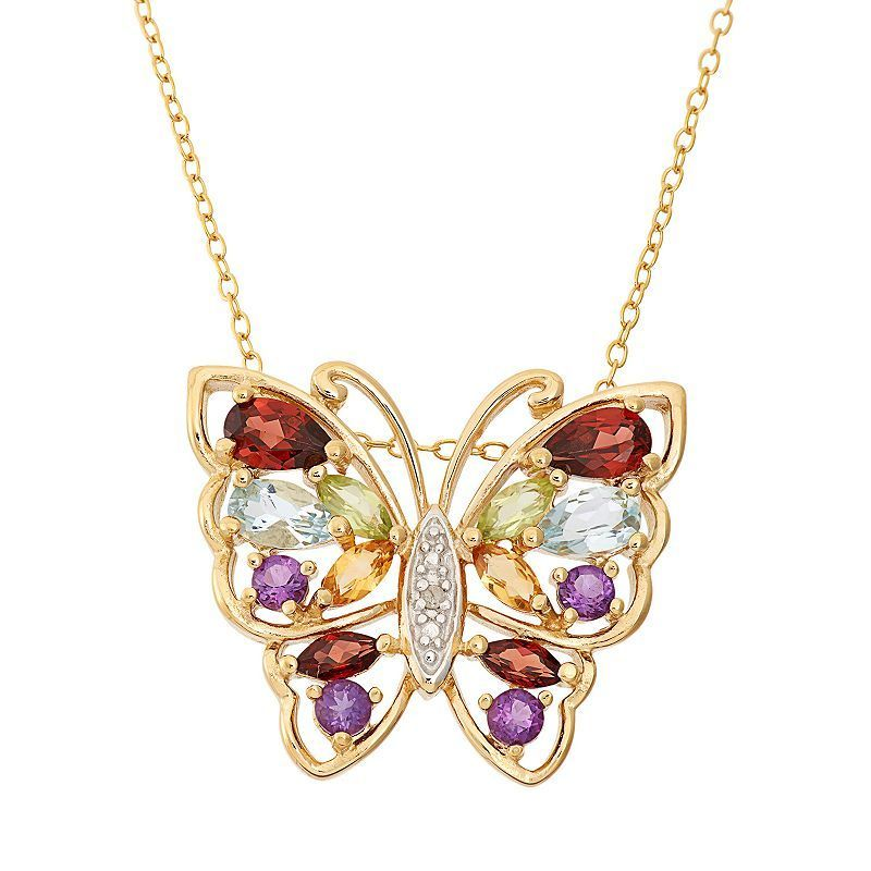 "Gemstone 18k Gold Over Silver Butterfly Pendant Necklace, Women's, Size: 18"", multicolor"