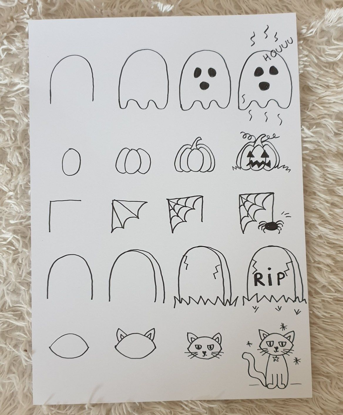 Dessins faciles d'Halloween! Les pasàpas pour enfant