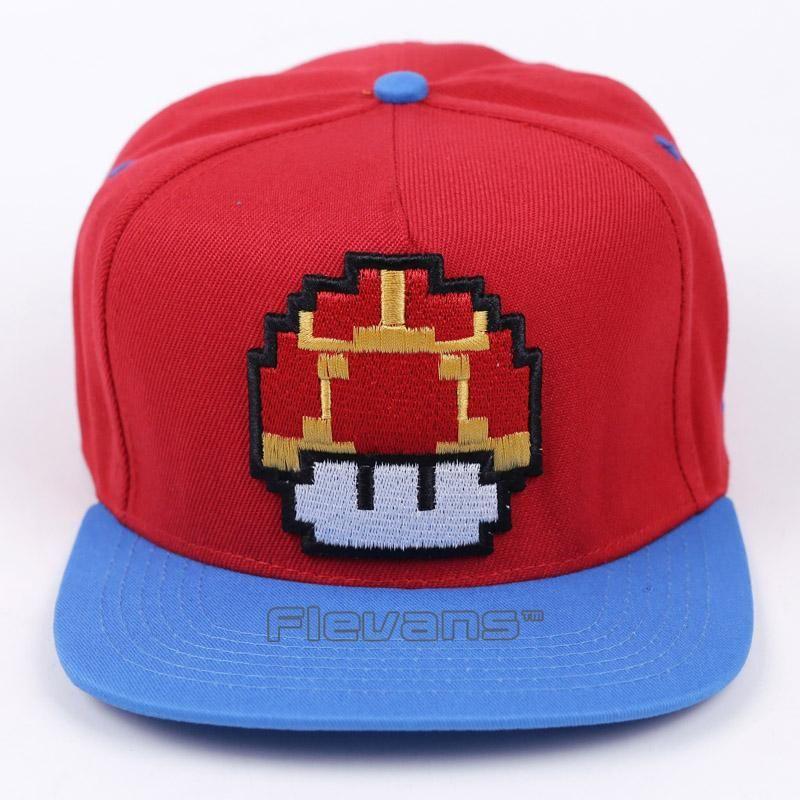 Fashion Super Mario Bros Brand Flat Sun Hat Mushroom Mario Cosplay Baseball Caps Hip Hop Snapback For Men Boy Mario Cosplay Super Mario Bros Hats For Men
