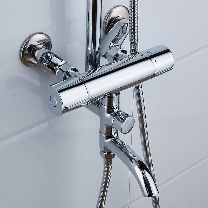 Shower Faucets Brass Chrome Thermostatic Bathroom Wall Bathtub
