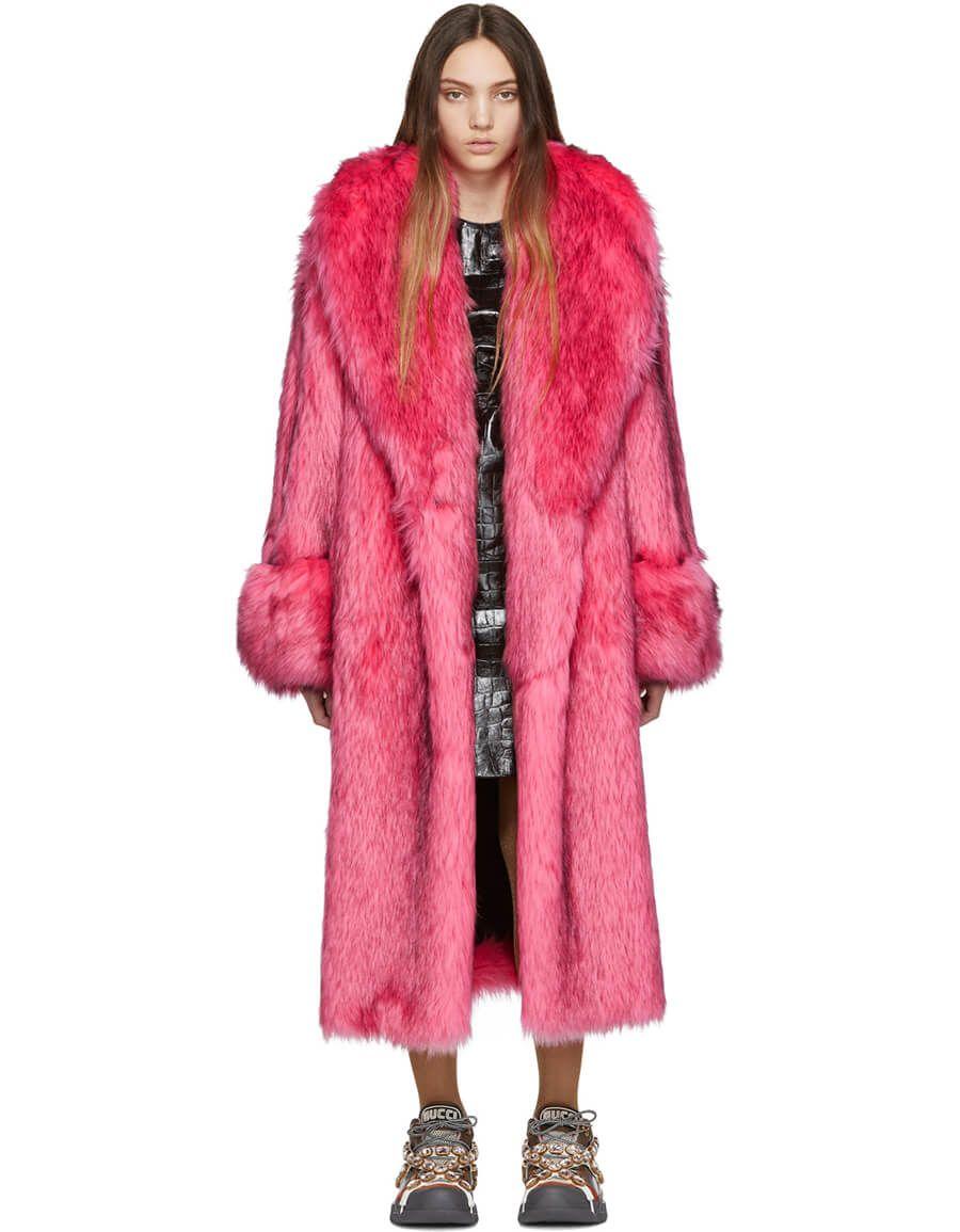 Gucci Pink Faux Fur Oversized Coat Vergle Red Faux Fur Coat Oversized Fur Coat Fur Lined Coat [ 1155 x 900 Pixel ]
