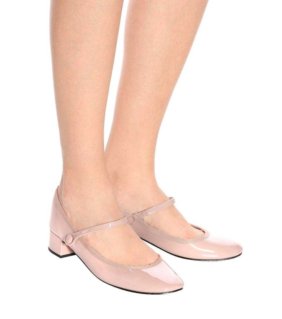 Mary-Jane-Pumps aus Lackleder in Rosa