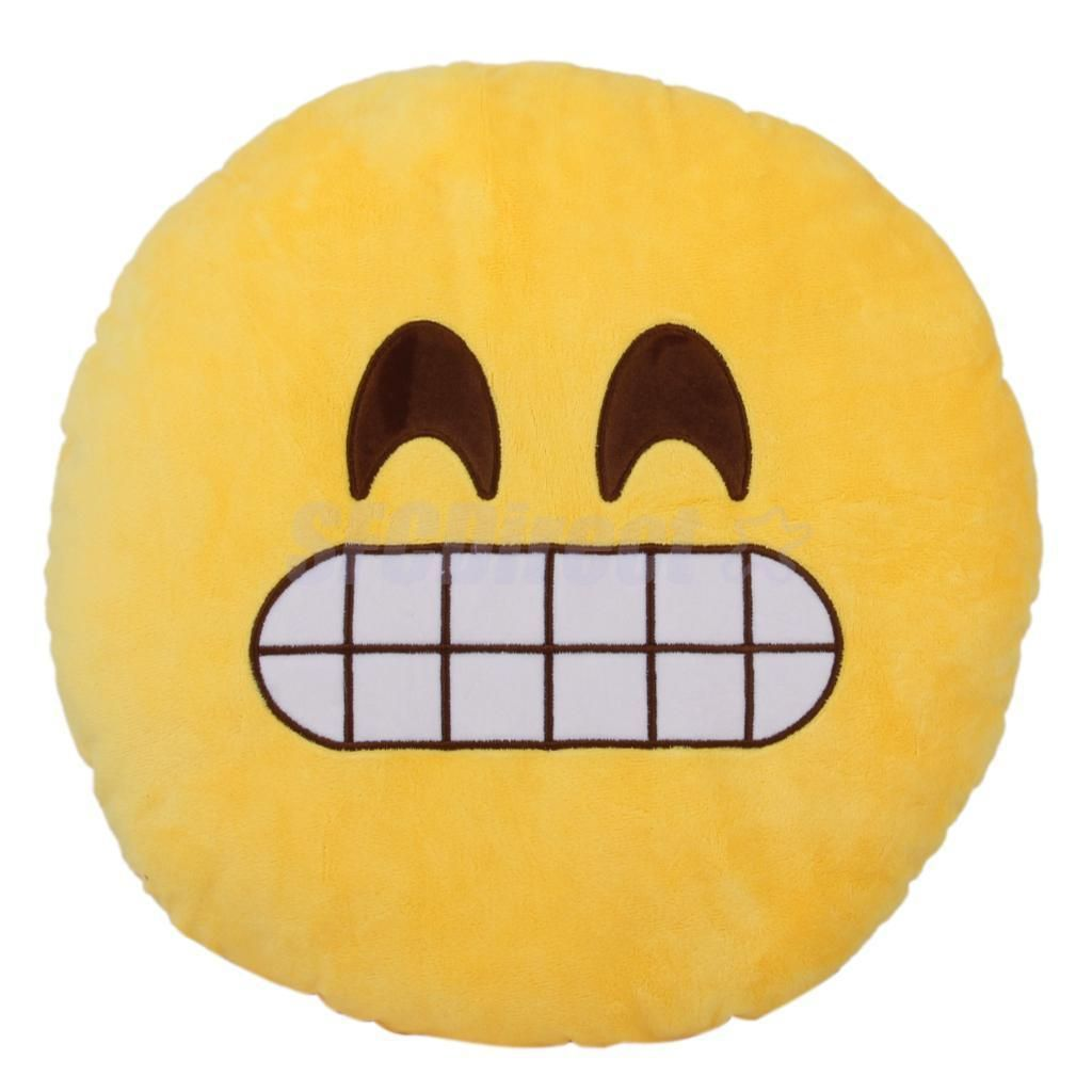 Soft Yellow Round Emoji Emoticon Cushion Throw Pillow Stuffed Plush Toy Decor