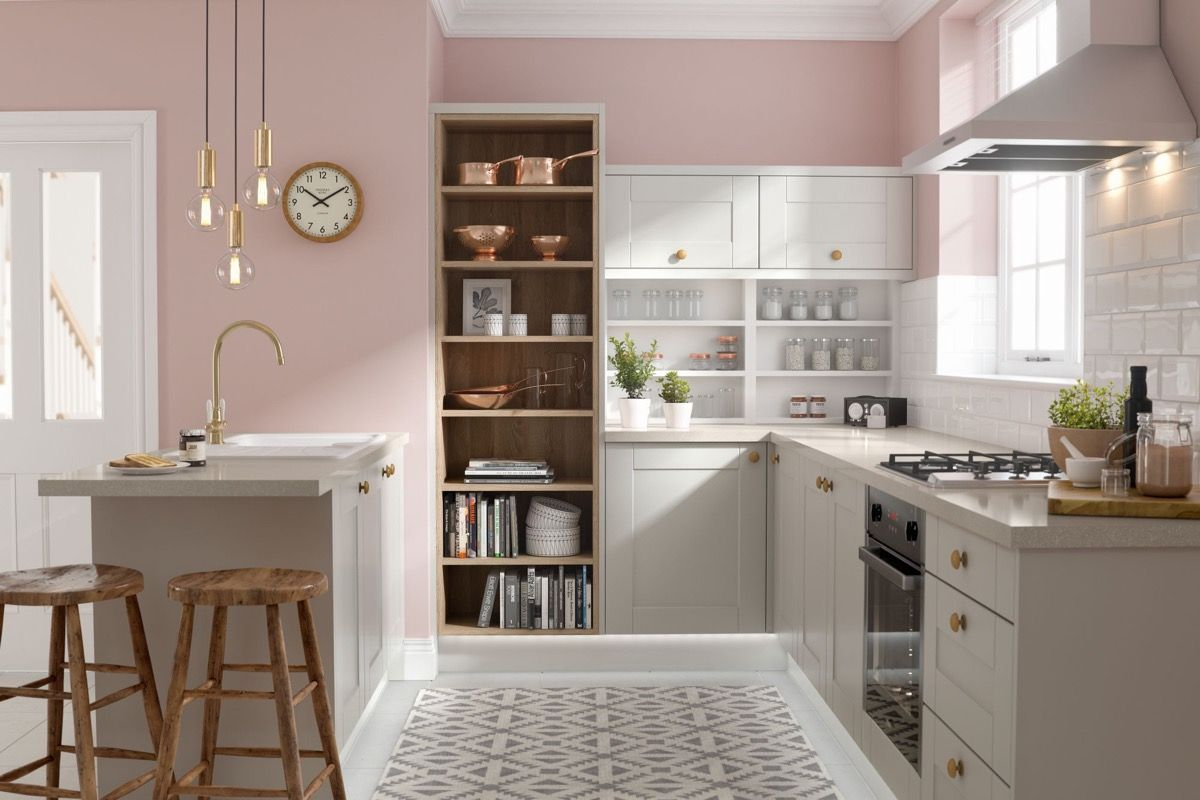 51 Inspirational Pink Kitchens With Tips Accessories To Help You Design Yours Pink Kitchen Decor Grey Kitchen Designs Shaker Style Kitchens