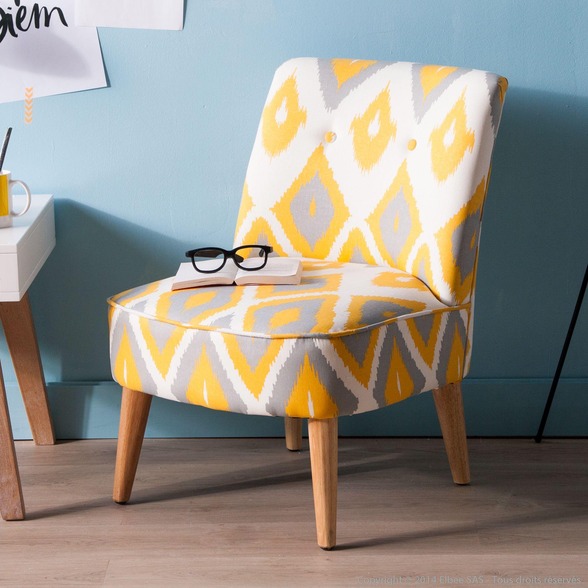 Fauteuil Tissu écru à Motifs Losanges Jaunes Et Gris HARRY - Petit fauteuil en bois