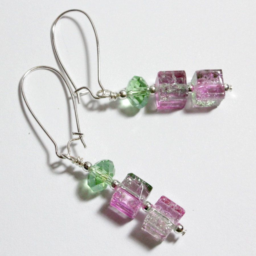 Pink and Green Earrings, Watermelon Crackle Glass and Crystal, $17