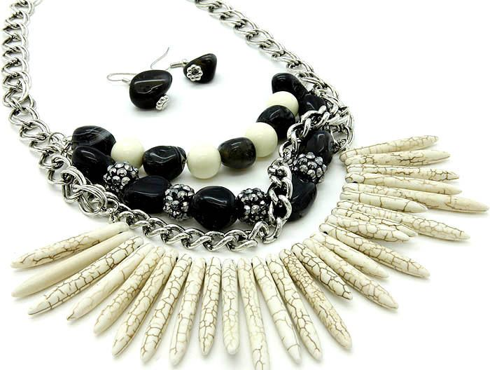 Natural Beige Stone Spikes Black Beads Bib Necklace Set Fashion Jewelry #FashionJewelry