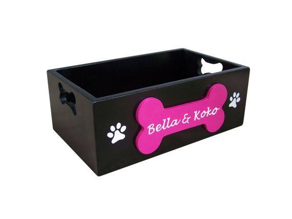 Painted Wooden Dog Toy Storage Box By Sassyfrassstudio On Etsy
