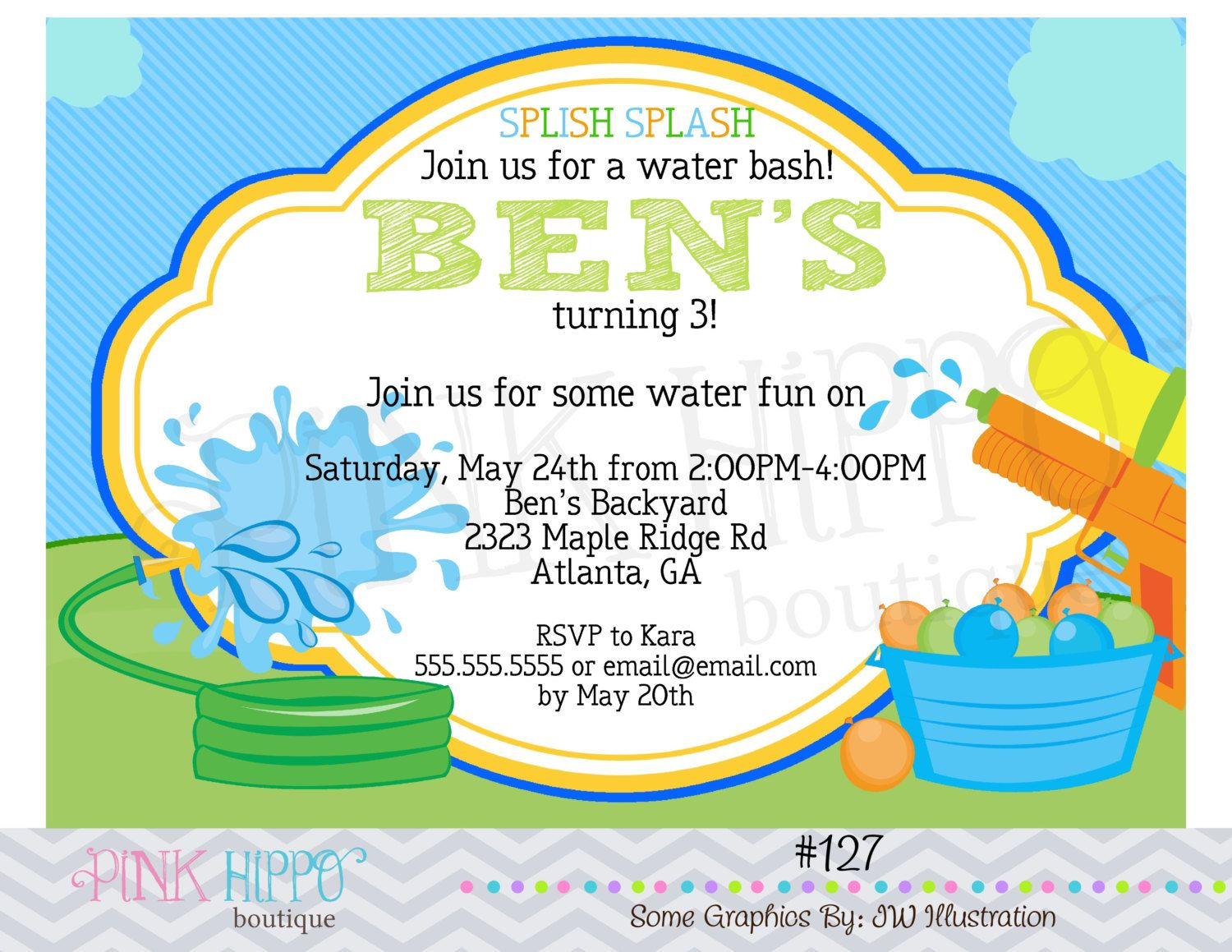 Water Fight Fun Boy127  PRINTABLE by PinkHippoBoutiqueDIY on Etsy, $11.00