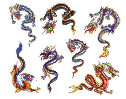 Chinese Rising And Landing Dragon Tattoos Gallery.