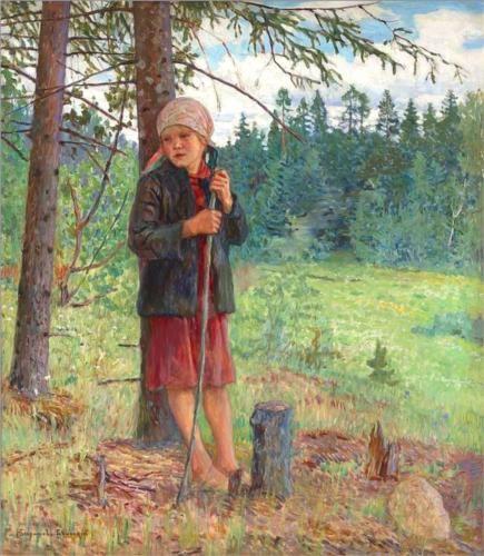 Girl in a Wood - Nikolay Bogdanov-Belsky
