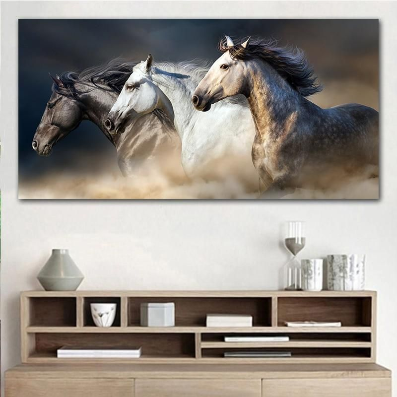 Running Horse Canvas Art Print Painting Pluto99 Horse Wall Art Horse Wall Art Canvases Animal Wall Art